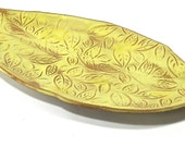 Ceramic Platter / Serving Tray - Banana Leaf Plate in Yellow and Brown (OOAK Handmade Stoneware Platter, Ceramic Plate, Serving Dish)