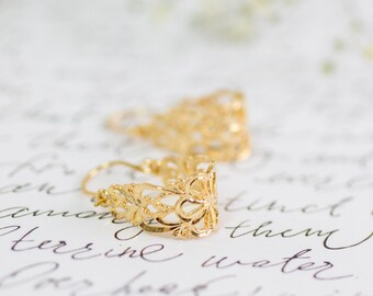 Lace Earrings, Bridesmaid Earrings, Filigree Earrings, Gold Earrings, Gold Lace Earrings, Victorian Style Earrings, Unique Earrings