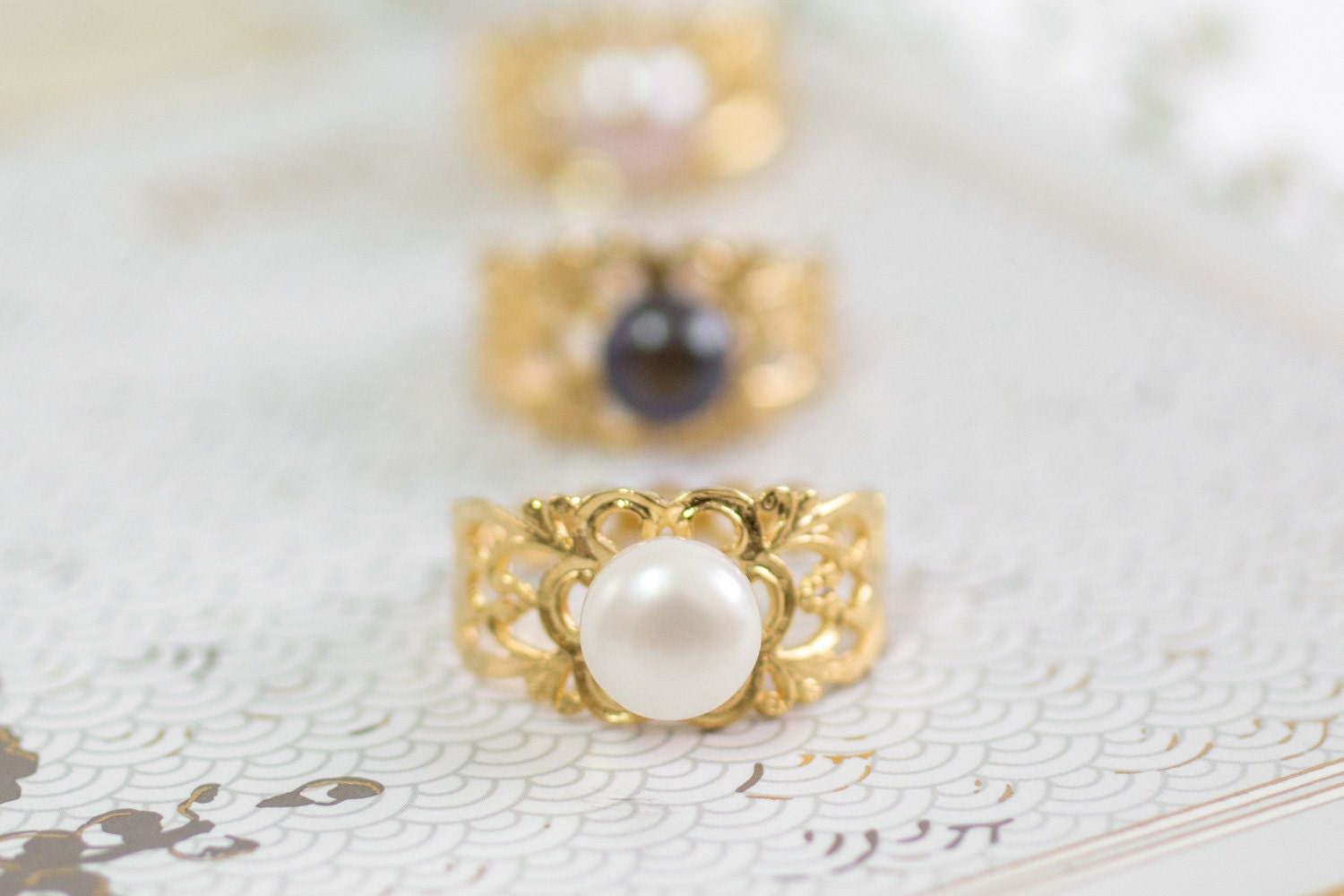 pearl wedding ring lace gold pink pearl wedding by