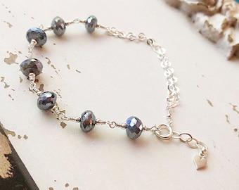 Gemstone Bracelet, Sterling Silver, Mystic Labradorite, Labradorite Bracelet, Wire Wrapped Gemstones, OOAK, Gemstone Jewelry, One of a Kind