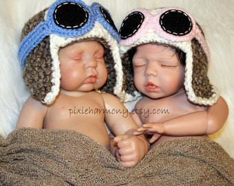 TWIN Newborn Baby Boy or Girl Aviator Hats w Goggles - Fly - Airplane Hat - Photo Prop - ANY Colors - Earflap Hat