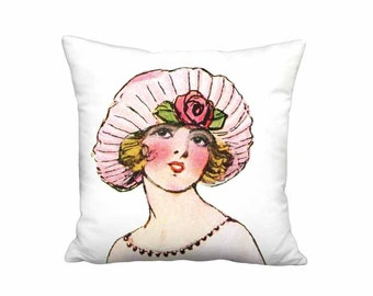 18x18 Inch - READY TO SHIP - Linen Cotton Pink French Fashion Hat Face Pillow - French 1920s Flapper Fashion Hat Cushion Cover