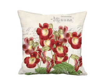 Velvet Red Flower Pillow Cover - French Cottage Trumpet Vine Botanical Pillow - 16x 18x 20x 22x 24x 26x 28x Inch Linen Cushion Cover