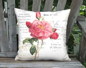 Pillow Cover - Pillow - Robier Rose French Cottage Pink Flower Pillow - 12x 14x 16x 18x 20x 22x 24x 26x Inch Linen Cotton Rose Cushion Cover