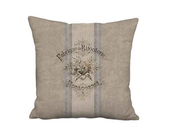 French Country Grain Sack Style Pillow Cover - French Bijouterie Pillow 16x 18x 20x 22x 24x 26x 28x 30x 32x Inch Linen Cushion Cover