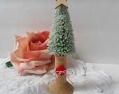 Norwegian Scandinavian Style Bottle Brush Christmas Tree Wood Spool Red Button