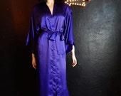 Frederick's of Hollywood- Royal Purple Satin FLoor Length Robe- Medium