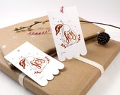 10 Copper Foil Tags - Christmas Pear