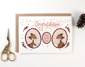 Baby Shower Card - Congratulations, New Little One - Copper Foil Greeting Card