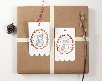 10 Copper Foil Tags - Owl Wreath