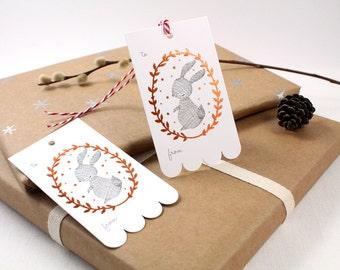 10 Copper Foil Tags - Rabbit Wreath