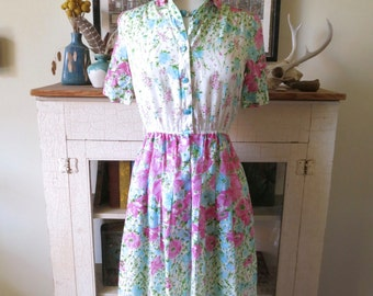 XS, S 70s dress, pink and blue morning glory floral print, from Japan