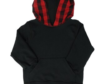 Kids bamboo fleece hoodie, boys girls back to school clothes, black sweatshirt with red plaid hood, ready to ship, 2t 3t 4t 5t xs s m