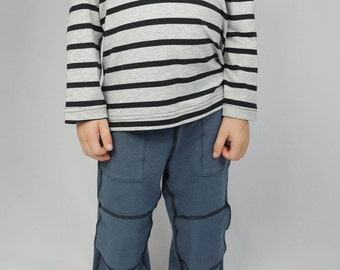 Kids back to school clothes, long sleeve striped bamboo shirt, boys girls kids toddler clothes, grey black stripes, 2t 3t 4t 5t XS S M