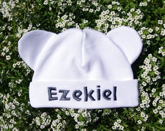 embroidered newborn hat Cap  with ears