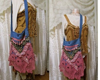 Hippie Bag handmade boho bag, gypsy bohemian bag, blue denim bag ,rose pink lace bag, laces doily embellished
