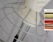 Silver lame color Crinoline hoop skirt pannier 3 rows elastic waist simple cage and ribbons