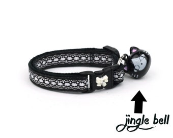 Lace Cat Collar - Pretty White Lace on Black- Small Cat / Kitten Size or Large Size