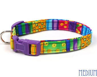 Colorful Dog Collar - Happy Go Lucky Stripes - Mini Small Medium Large XL Dog Collar