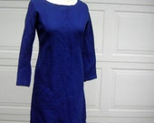 """Curvy Royal Blue Wool Dress with Simple Clean Lines - Vintage 60s - Bust 40"""" CLEARANCE"""