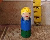 Wood Peg Doll School Boy Family Miniature Figurine Dolls