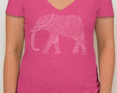 Adoption Fundraiser t-shirt -  vintage pink v-neck tee with hand-drawn elephant design