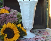 Vintage Milk Glass Vase / Westmoreland Paneled Grape / Milk Glass Wedding Centerpiece / Autumn Decor