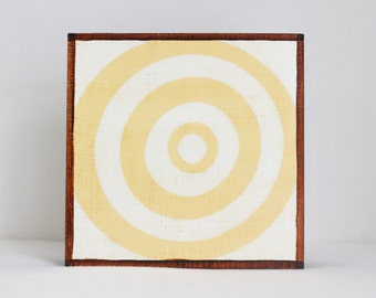 woodland nursery decor- bullseye art for nursery- 5x5 art block- geometric nursery, yellow wall art- redtilestudio nursery art