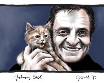 Johnny Cash with Kitten, A4 Fine Art Portrait Drawing Print