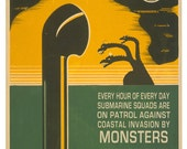 Art Print, Monster Art, Submarine Art, Digital Print, World War II, Kaiju, Join the Hunt, Alternate Histories, Geekery, Smash Squad