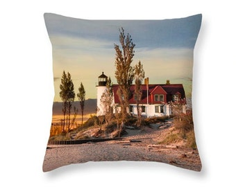 Throw Pillow of Point Betsie Lighthouse at Sunset on Lake Michigan by Frankfort Michigan No.6603 novelty pillow Home Décor cushion cover