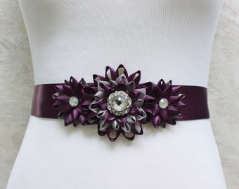 Dress Sash, Flower Dress Sash, Bridesmaid Sash, Bridal Sash, Flower Sash Belt, Flower Belt, Aubergine Wedding, Dark Purple Wedding