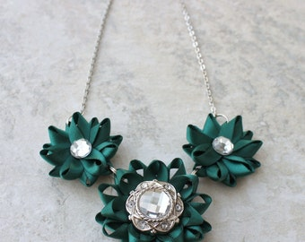 Teal Necklace, Teal Green Necklace, Hunter Green Necklace, Dark Emerald Green, Teal Jewelry, Bridesmaid Necklace, Teal Wedding Jewelry