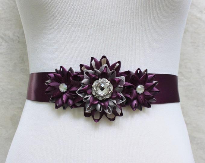 Dress Sash, Flower Dress Sash, Bridesmaid Sash, Bridal Sash, Flower Sash Belt, Flower Belt, Aubergine Wedding, Dark Purple Wedding
