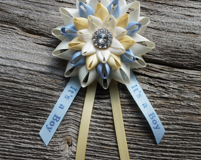 Baby Shower Decorations, Baby Boy Shower Decor, Boy Baby Shower Corsage, Yellow, Blue, Ivory, Its a Boy, New Mom Pin, Mommy to Be Corsage