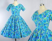 Vintage 50s Dress / 1950s BLUE ROSES Watercolor Floral Rose Print Cotton SUNDRESS Full Circle Swing Skirt Garden Cocktail Party S Small