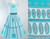 Vintage 50s Dress / 1950s ATOMIC Print Cotton SUNDRESS Turquoise Blue DEADSTOCK Full Swing Skirt Geometric  Day Dress Garden Party S Small