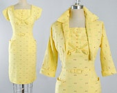 Vintage 50s WIGGLE Dress 1950s Yellow Cotton ATOMIC Print Pencil Skirt Belted Dress Crop BOLERO Jacket 2Pc. Set Pinup Bombshell M Medium