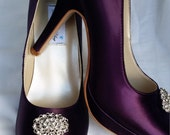 Purple Wedding Shoes Closed Toe Bridal Shoes with vintage style crystal oval Brooch - Dyeable Bridal Shoes - Pick your Color