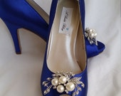 Wedding Shoes Bridal Shoes Blue Bridal Shoes with a Crystal and Pearl Cascading Brooch -  Dyeable Shoes Over 100 Colors To Pick From