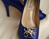 Wedding Shoes Blue Bridal Shoes with Sparkling Crystal and Pearl Bow Brooch -  Dyeable Shoes Over 100 Colors To Pick From