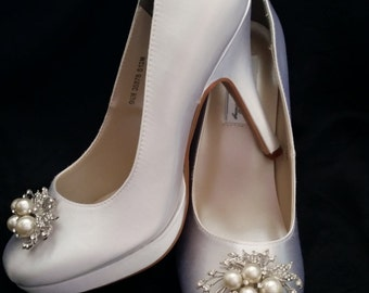 Wedding Shoes Closed Toe Bridal Shoes with Pearl and Crystal Cascading Brooch - Dyeable Bridal Shoes - Pick your Color