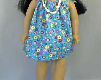 Turquoise Hawaiian Luau Dress- Handmade To Fit 18 Inch Dolls Like American Girl Doll
