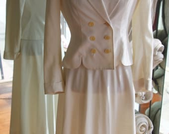 Vintage 1940s-1950s New Look Nipped Waist Woman's White Linen Suit