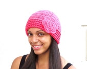 Crochet Hat,Flower Hat, Beanie With Flower, Hot Pink, Adult, Crochet, Women, Teen