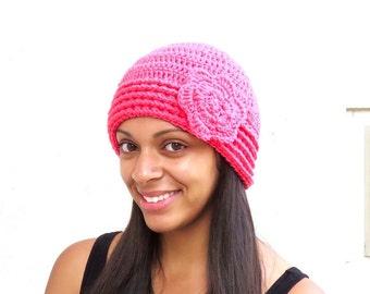 Crochet Hat,Flower Hat, Beanie With Flower, Hot Pink, Adult, Crochet, Women, Teen