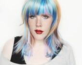 SALE Blue wig   Rainbow wig, Yellow Purple Pink Scene wig, Multicolor wig   Pastel wig, Long straight pastel wig   Galactic Pony