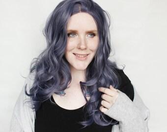 SALE Blue Lace Front Wig | Long Curly Blue Wig | Lace Front wig | Blue Denim