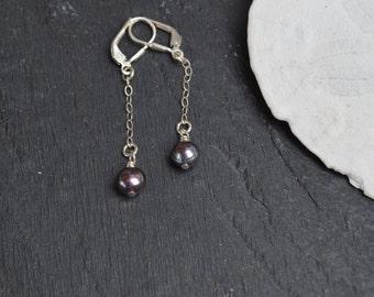 Pearl Dangle Earrings, Sterling Silver, Plum Pearls, Delicate, Chic