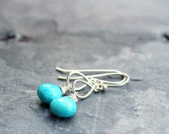 Turquoise Earrings Blue Stone Gemstone Briolette Sterling Silver Dangle Earrings